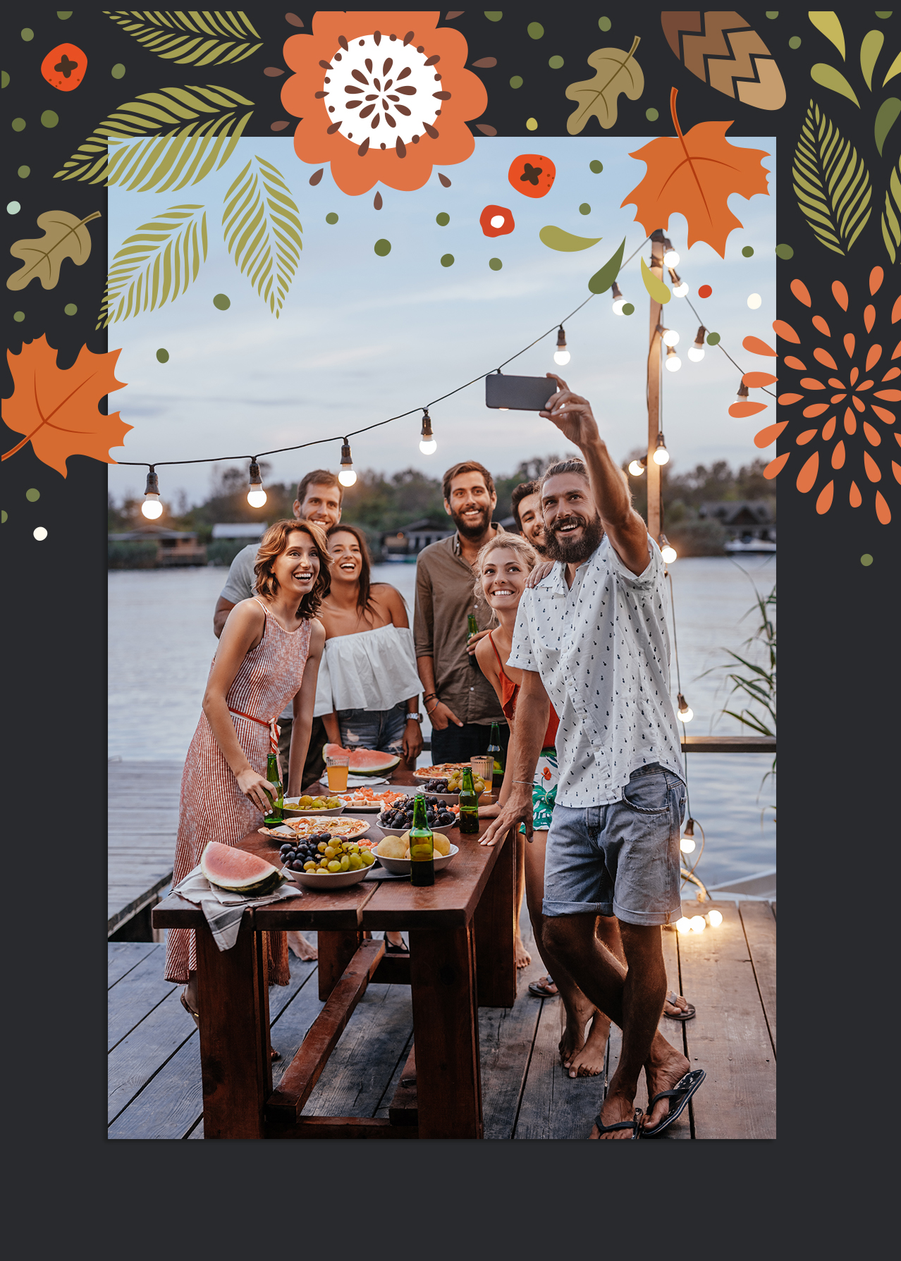 Thanksgiving photo with group near a lake