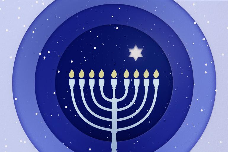 Hanukkah menora candles