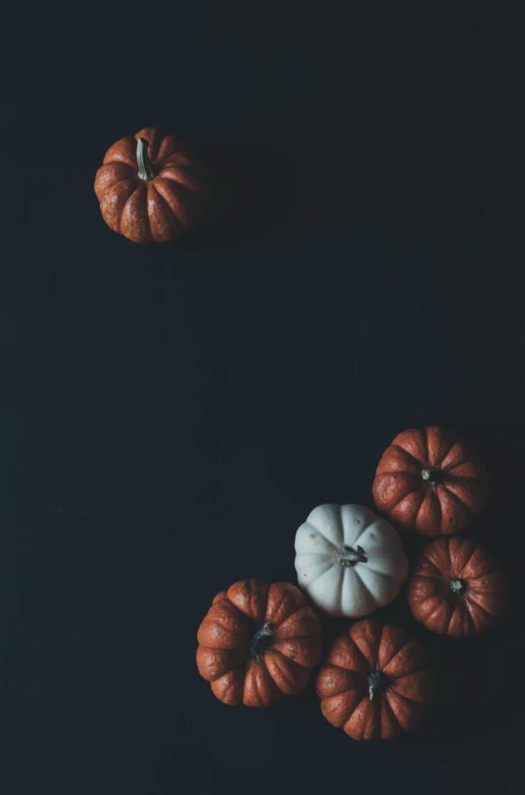 Pumpkins against black background