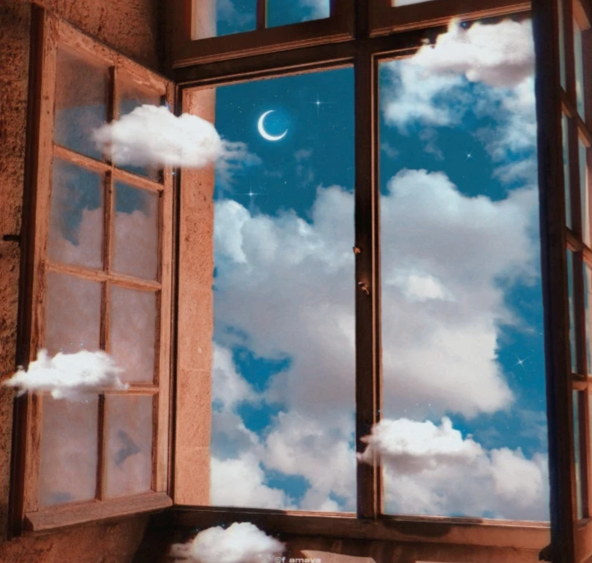 Window with clouds and blue sky