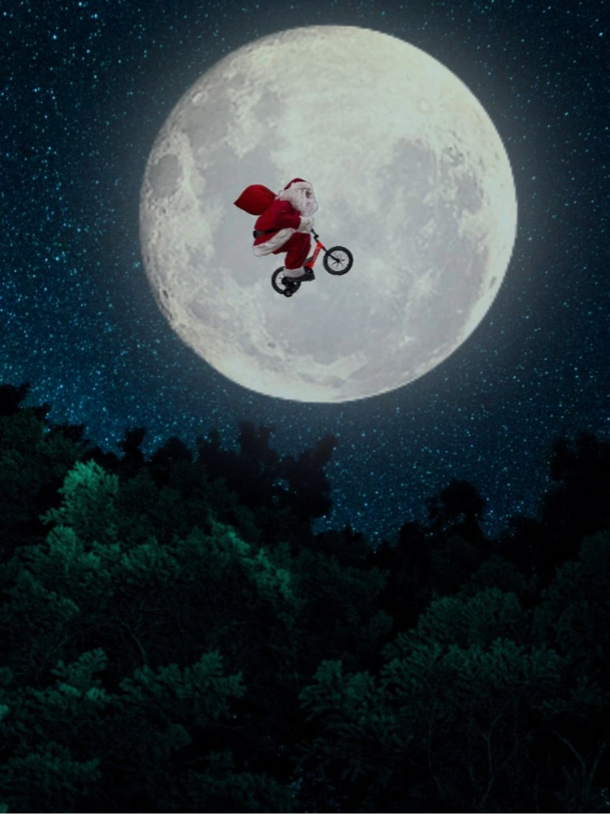 Santa Clause flying by moon