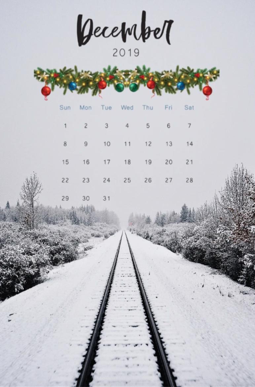 Christmas calendar with snow