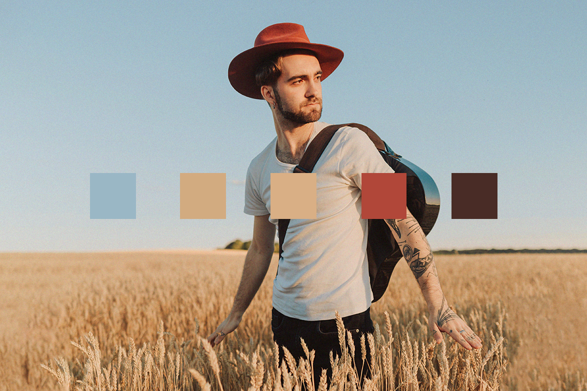Color palette from an image of a guy in a hat