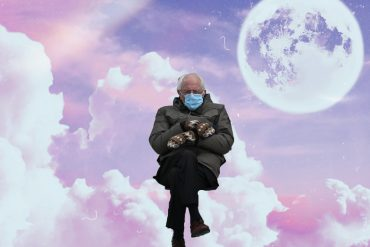 Bernie Sanders Inauguration meme sitting on clouds