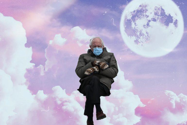 Bernie Sanders Inauguration meme sitting on clouds