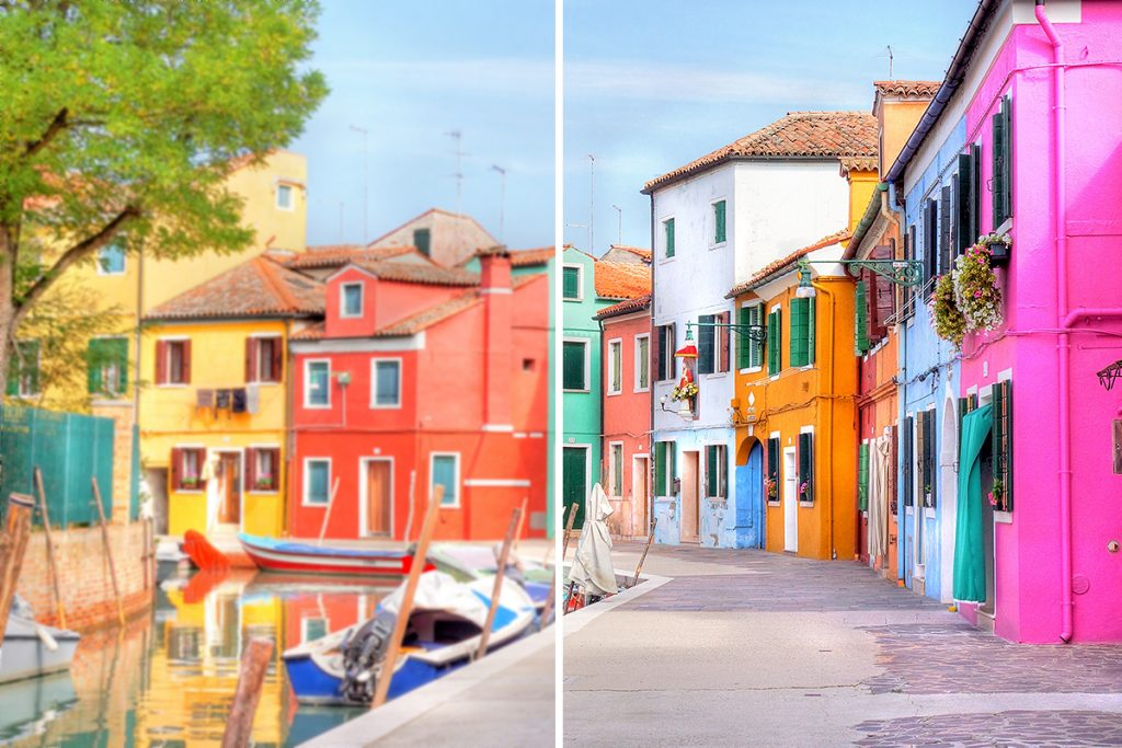 Upscale image colorful houses