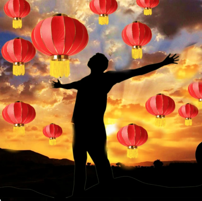 Lunar New Year lanterns and a guy