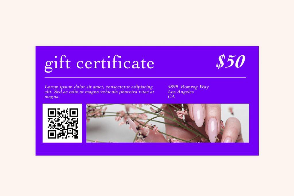 nail salon gift card template