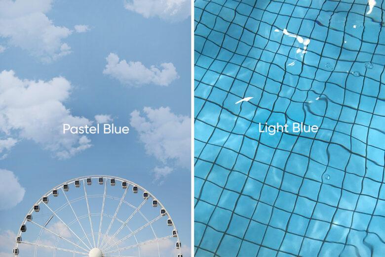 pastel blue versus light blue