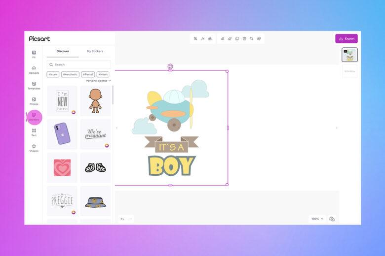 new baby card desktop stickers